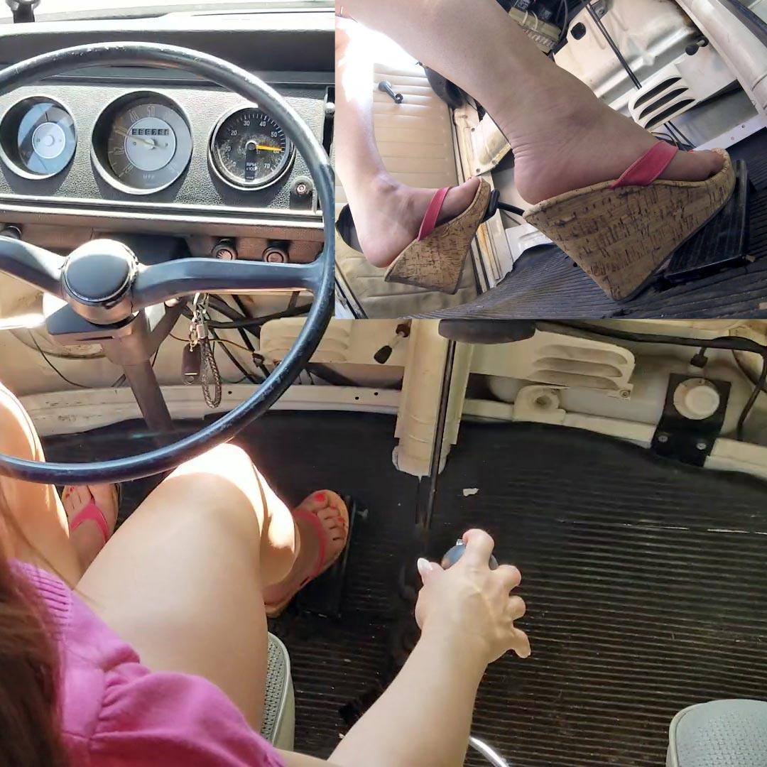 Vivian Ireene Pierce VW Bus Solo Cruise Pink Wedges & Barefoot, 1 of 2