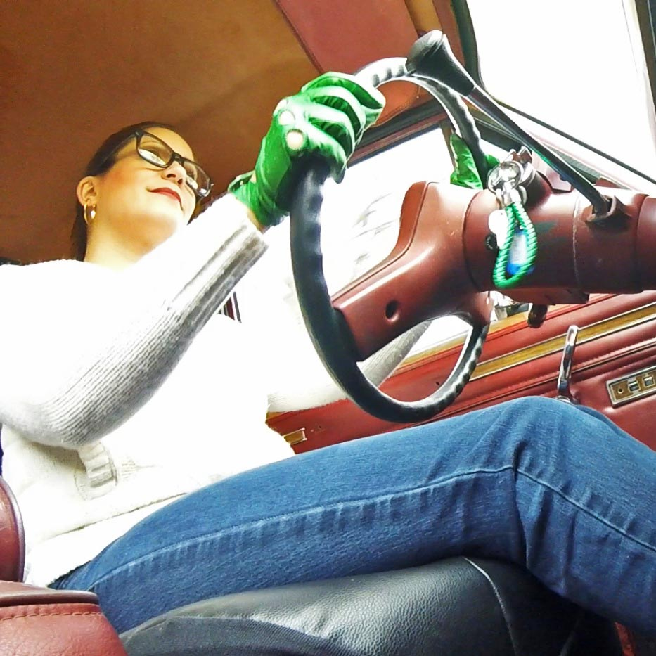 Vivian Ireene Pierce White & Green Adidas Sneakers & Driving Gloves Tease, 1 of 4