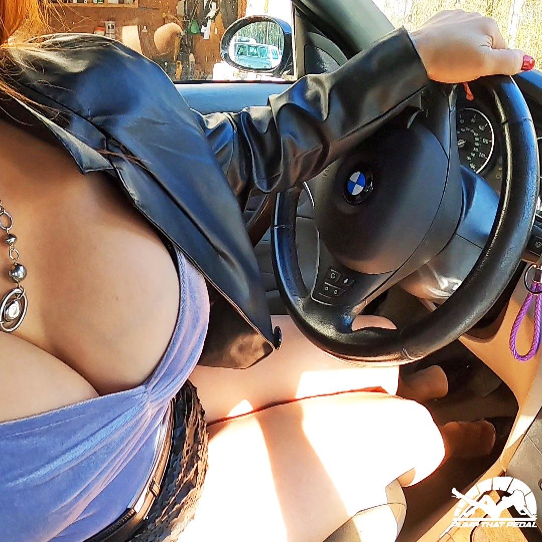 Vivian Ireene Pierce Revving the BMW in Black Pumps & Booooobs!