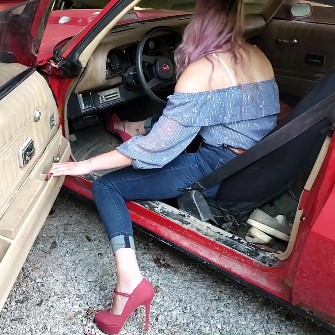 Heidi Taking the Z28 for a Spin in Red Stilettos, 1 of 2