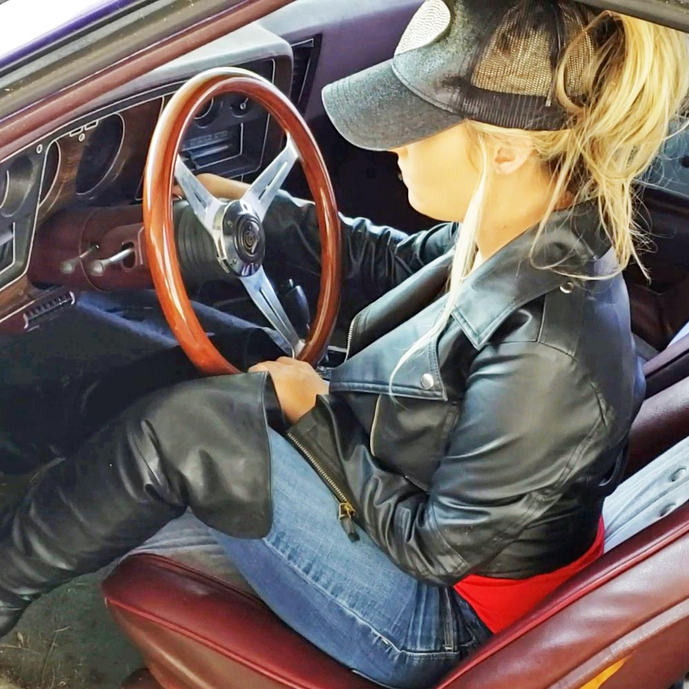 Jewels Gets Brookes Old Chevy Laguna Started in Boots & Leather
