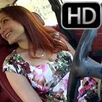Vivian Ireene Pierce Gives a Leg Tease Revving the Volvo, 2 of 4