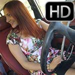 Vivian Ireene Pierce Gives a Leg Tease Revving the Volvo, 4 of 4