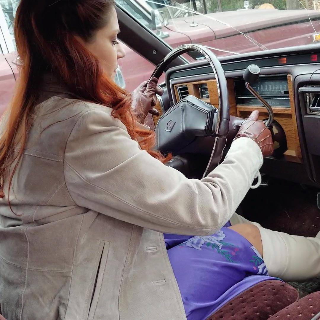 Vivian Ireene Pierce White Boots & Purple Dress Bug & Caddy Cranking 2 of 2