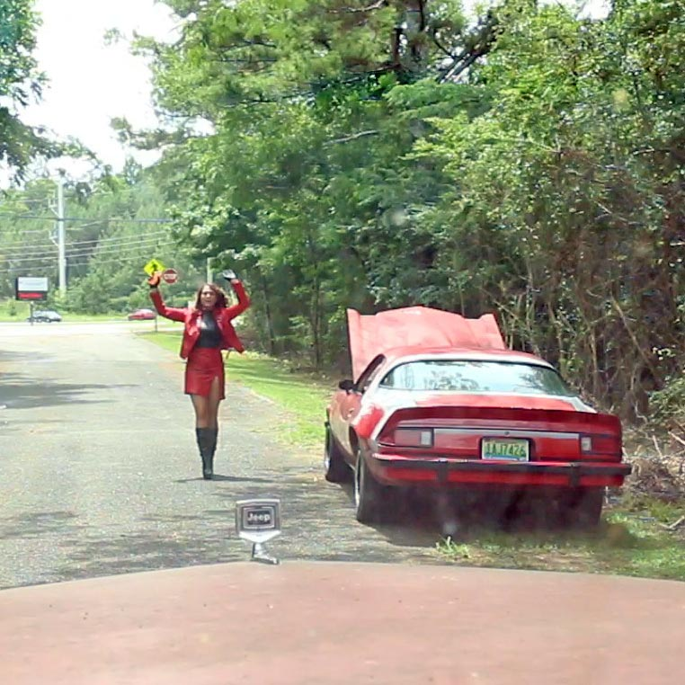 Dirty Diana's Z28 Broke Down in Red Leather Suit & Boots, 2 of 2