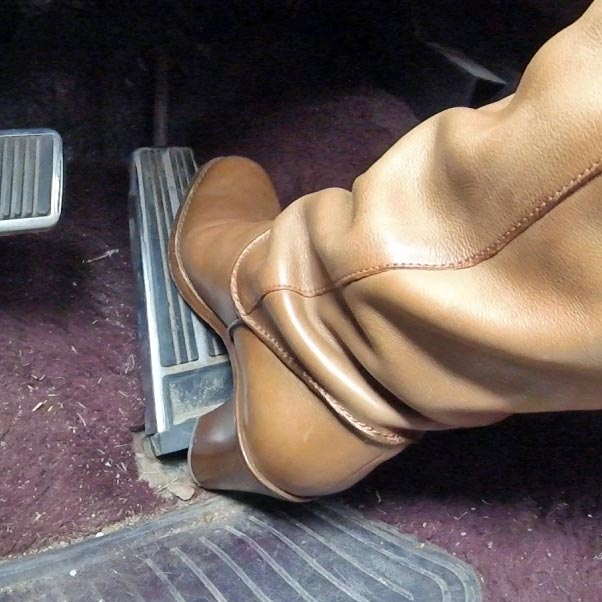 Cassandra Driving the Caddy to DMV in Tan OTK Boots, 2 of 2