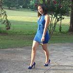 Hana Pedal Pumping in Blue Dress & Peep-toe High Heels, 3 of 4